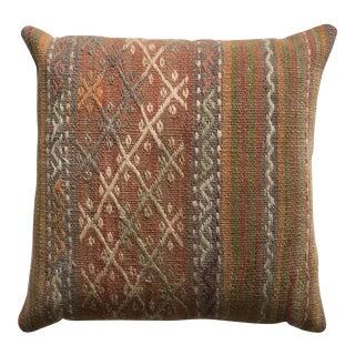 20th Century Turkish Burnt Orange and Tan Wool Kilim Pillow - Medium