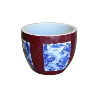 Chinese Red Blue & White Oriental Graphic Ceramic Pot Planter For Sale