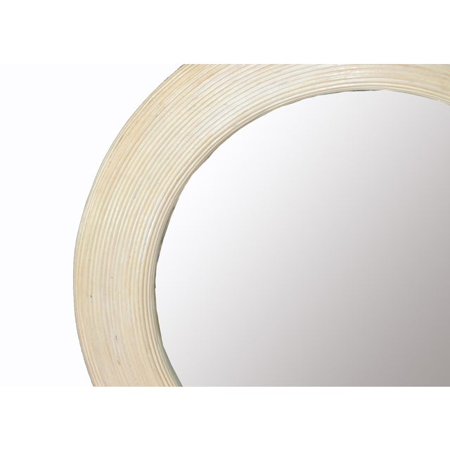 1970s Mid-Century Modern Round Handmade White Washed Pencil Reed Wall Mirror For Sale - Image 5 of 13