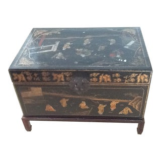 1920s Antique Black Leather Chest For Sale
