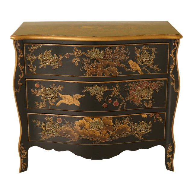 1990s Vintage Chinoiserie Decorated French Inspired Commode For Sale