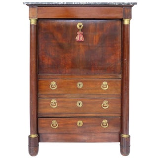 19th Century French Empire Drop Front Secretary With Bronze Mounts
