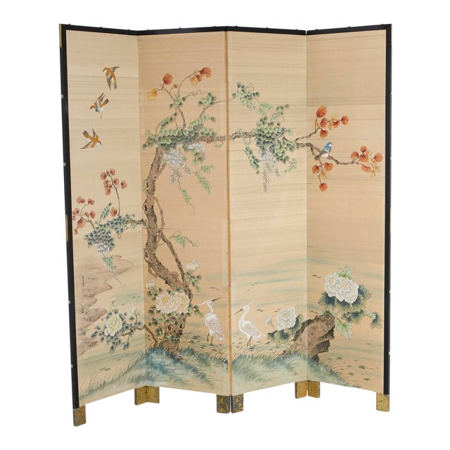 Japanese Four-Panel Floor Silk Screen Landscape With Herons, Circa 1920s For Sale