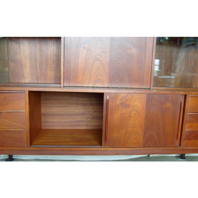 7 Ft. Mid-Century Danish Modern Teak Credenza Dry Bar Hutch For Sale - Image 6 of 12