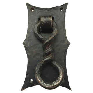 Handmade Hammered Iron With Forged Twisted Door Knocker For Sale