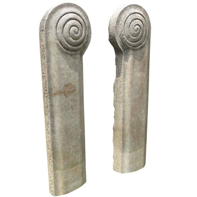 19th Century Stone Temple Adornments - a Pair For Sale - Image 4 of 4
