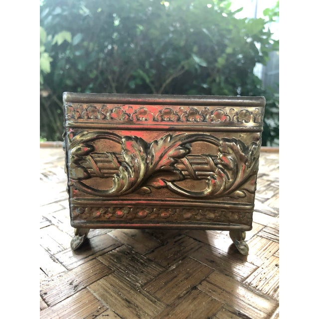 1940s 1940s Vintage Brass Repousse Embossed Rectangular Planter For Sale - Image 5 of 9