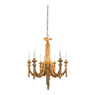 EUROPEAN ANTIQUE HAND CARVED GILDED CHANDELIER