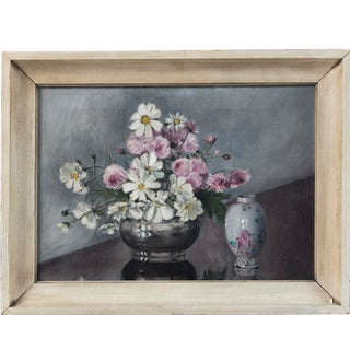 Folk Art Still Life, 'Flowers and Chinese Export Porcelain', Early 20th Century For Sale