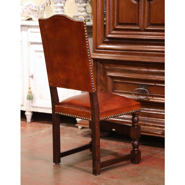 19th Century French Carved Oak and Tan Leather Dining Chairs - Set of Six For Sale - Image 9 of 13