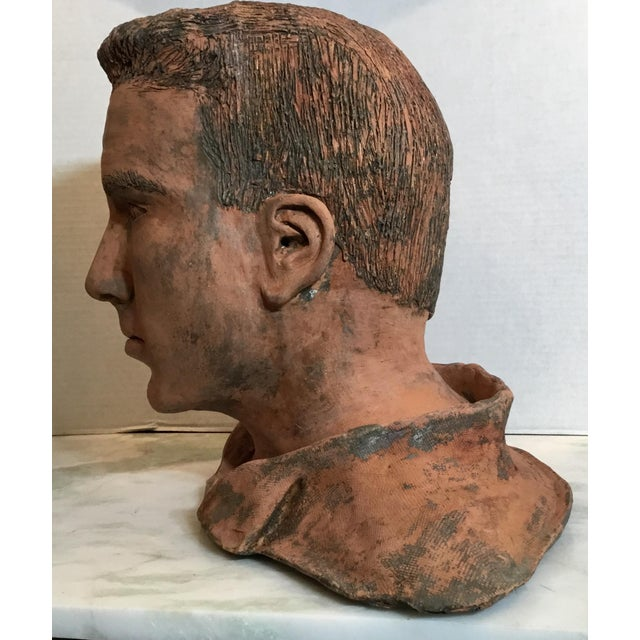 Brown Young Man Terra Cotta Bust Signed MD For Sale - Image 8 of 13