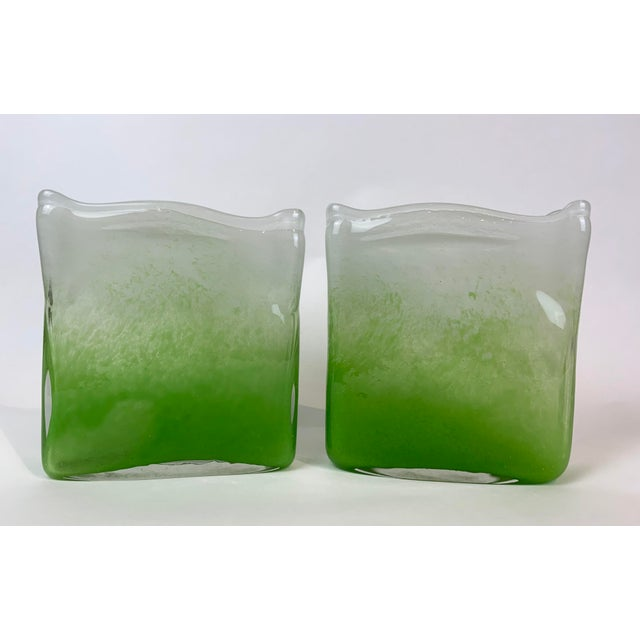 Henry Dean Rectangular Glass Vases - a Pair For Sale - Image 13 of 13