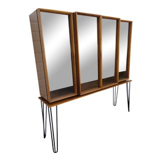 Mid Century Modern Display China Cabinet With Hairpin Legs 1232 For Sale