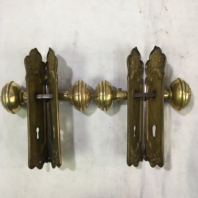 2010s Antique Style Victorian Filigree Brass Back Plates and Doorknobs For Sale - Image 5 of 10