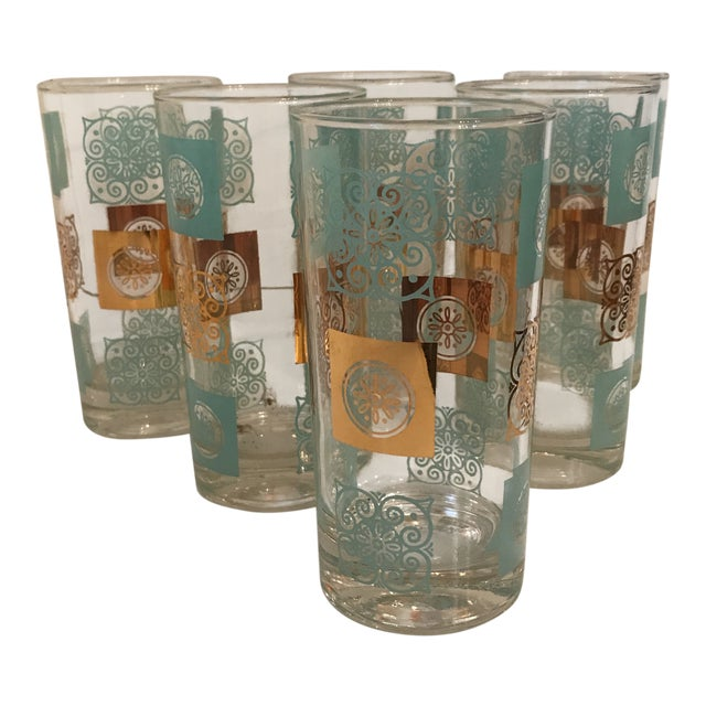 Vintage Mid-Century Aqua and Gold Cocktail Glasses - Set of 6 For Sale