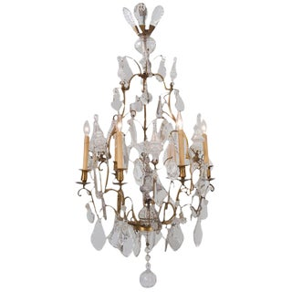 French Louis XVI Style 19th Century Brass and Crystal Chandelier For Sale