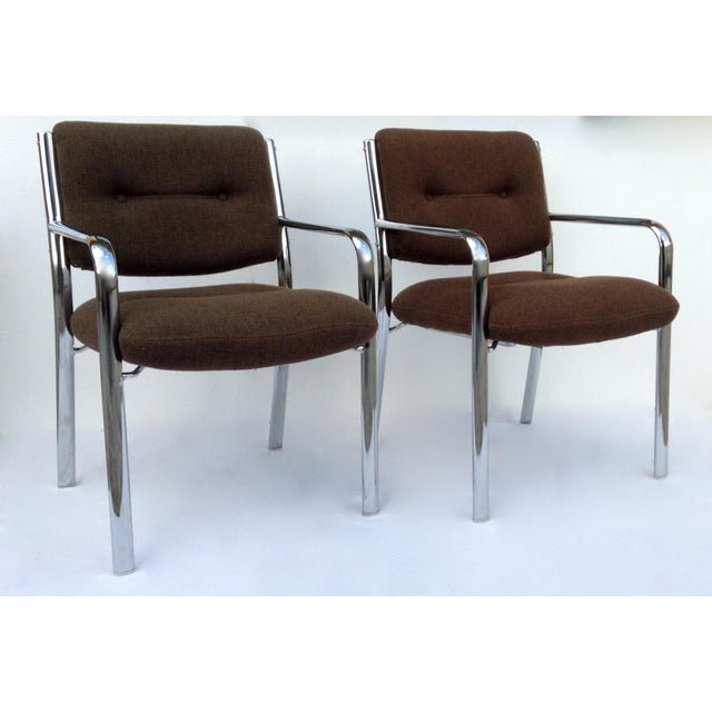 Vintage Chrome Arm Chairs w/Knoll Textile - A Pair - Image 3 of 11
