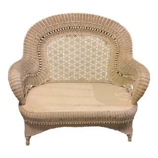 1900s Vintage Heywood Wakefield Wicker Settee For Sale