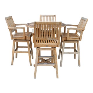 Outdoor Bar Table and Barstools Set by Gloster- 5 Pieces For Sale