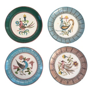 Vintage Boho Chic Whimsical Bird Terra Cotta Mexican Wall Plates - Set of 4 For Sale