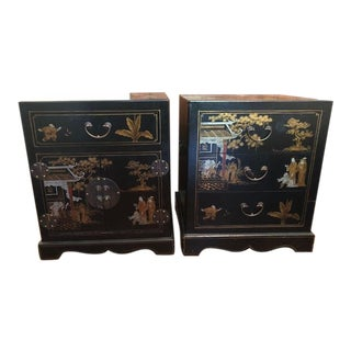 Chinoiserie Black Painted Chests - a Pair