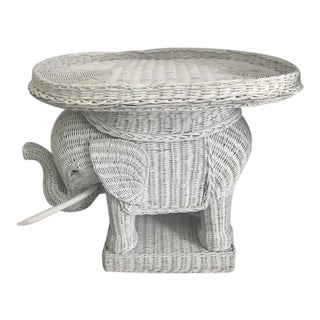 Vintage White Wicker Elephant Side Table With Tray