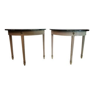 Neoclassical Demilune Painted Classical Console Tables - a Pair For Sale