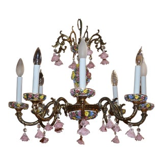 Hollywood Regency Capodimonte Eight Arm Chandelier For Sale