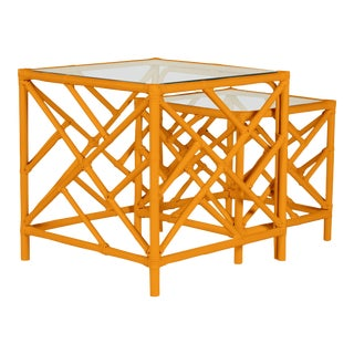 Chippendale Nesting Tables - Orange For Sale