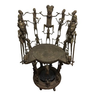 Vintage Benin Bronze Chief Chair on Wheeled Base For Sale