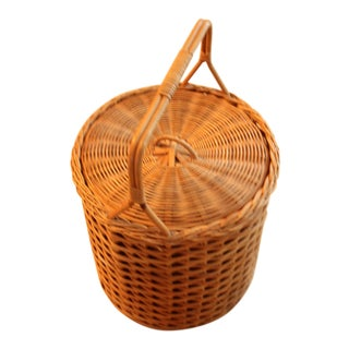1970s Vintage Old German Wicker Sewing Basket For Sale