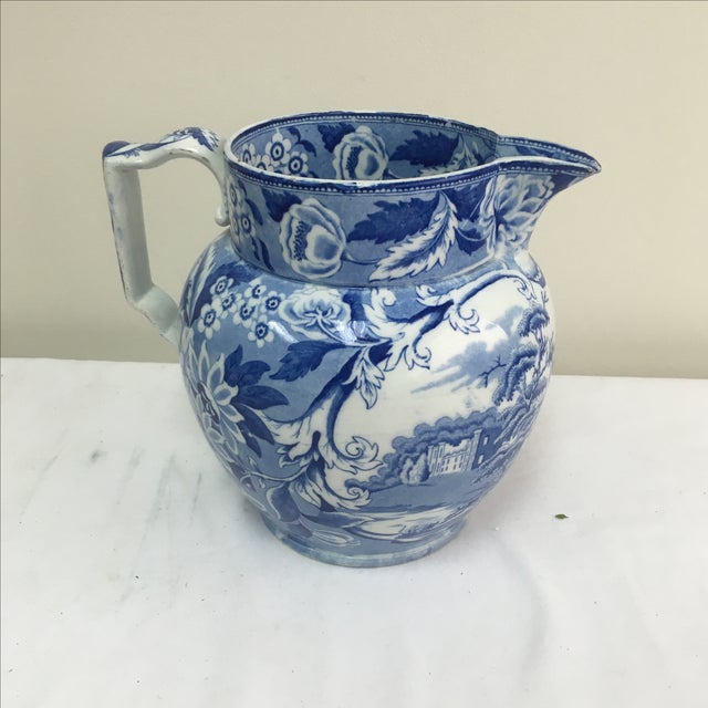 Antique 19th C. English Blue Transferware Pitcher - Image 3 of 8