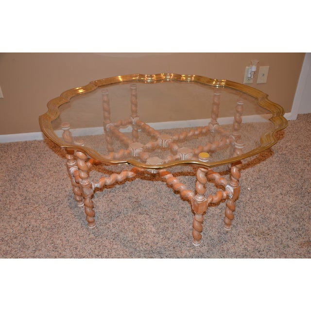 Brass & Glass Scalloped Tray Coffee Table - Image 2 of 4