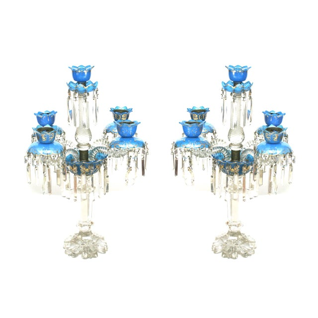 Pair of French Victorian Baccarat Crystal Candelabras For Sale - Image 12 of 12