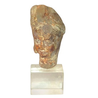 15th Century Antique Terracotta Bust on Plexiglass Plinth For Sale