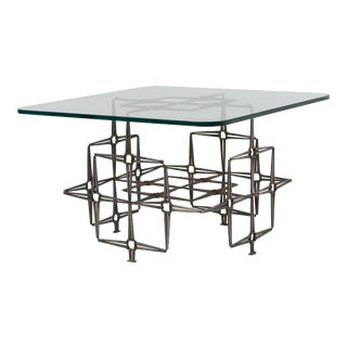1980s Brutalist Square Nail Coffee Cocktail Table Trimark Evans Seandel For Sale