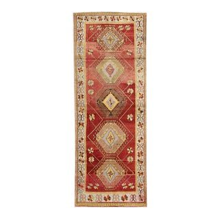 Vintage Turkish Oushak Carpet Runner with Modern Style