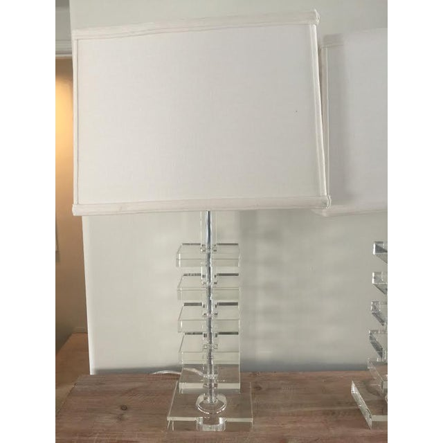 Glass Square Column Table Lamps - A Pair - Image 7 of 8