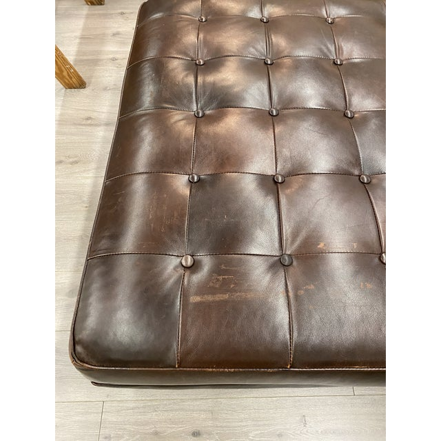Contemporary Lee Industries Large Brown Leather Square Ottoman Coffee Table For Sale In New York - Image 6 of 9