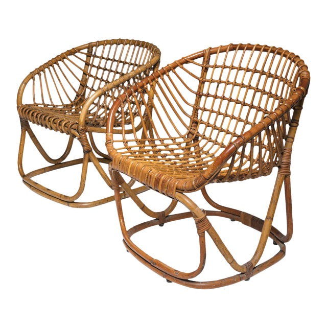 Pair of Wicker Chairs by Tito Agnoli for Bonacina For Sale