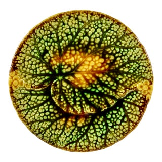 19th C. Schramberg Majolica Overlapping Leaf Plate, Multiples Available For Sale