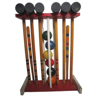 Vintage Croquet Set and Stand