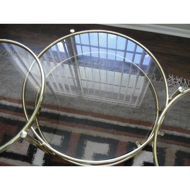 Glass Milo Baughman Smoked Glass Swivel Table For Sale - Image 7 of 8