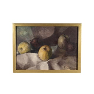 Frederick Lyman Signed Mid-Century Still Life of Apples Oil on Board Painting For Sale
