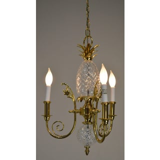 Brass & Chrystal Pineapple Small Chandelier Possibly Waterford Preview