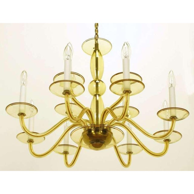 Murano Glass Sommerso 1940s Twelve-Arm Murano Deep Champagne Glass Chandelier For Sale - Image 4 of 9