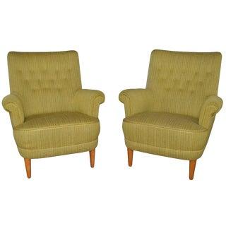 Pair of Vintage Swedish Carl Malmsten Hemmakvall Armchairs For Sale