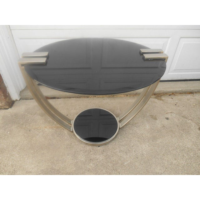 Oval Black Glass & Metal Art Deco Style End Table - Image 6 of 6