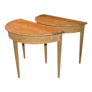19th Century Gustavian Demilune Tables - A Pair For Sale