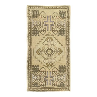 "Vintage Turkish Oatmeal Yastik Hand Knotted Wool Rug - 1'8"" X 3'2"" For Sale"